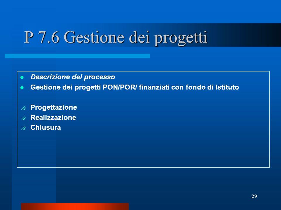 P 7.6 Gestione dei progetti