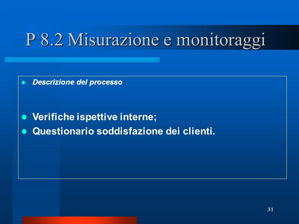 P 8.2 Misurazione e monitoraggi