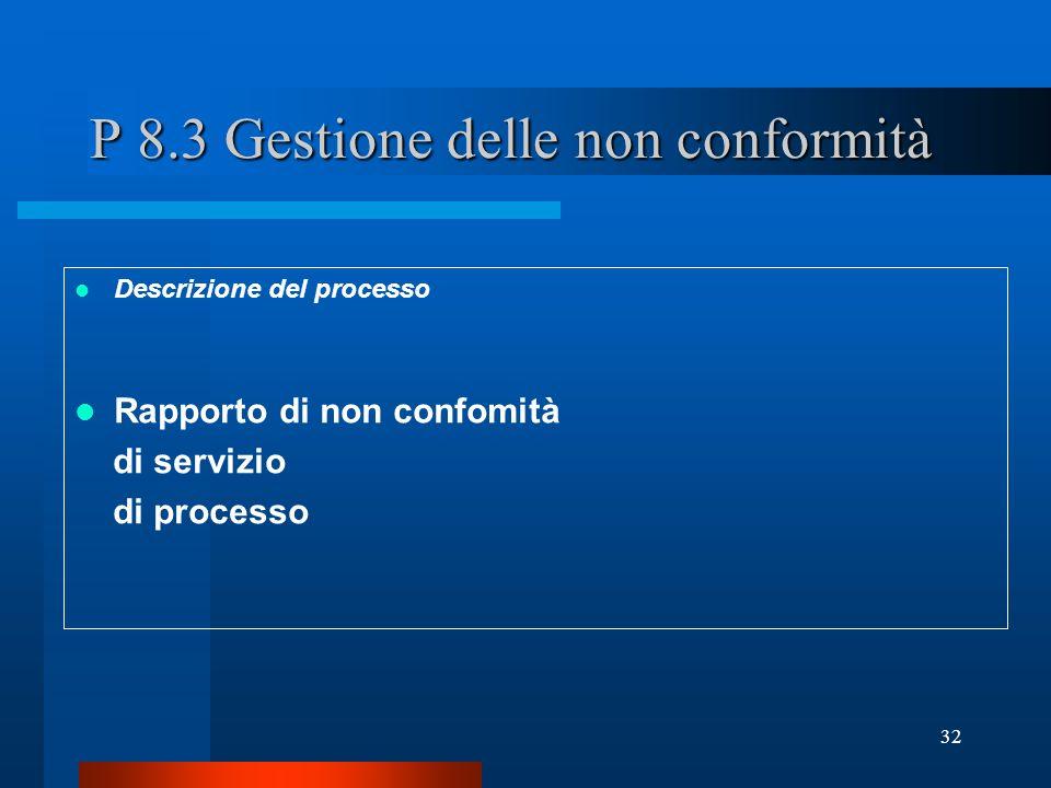 P 8.3 Gestione delle non conformità