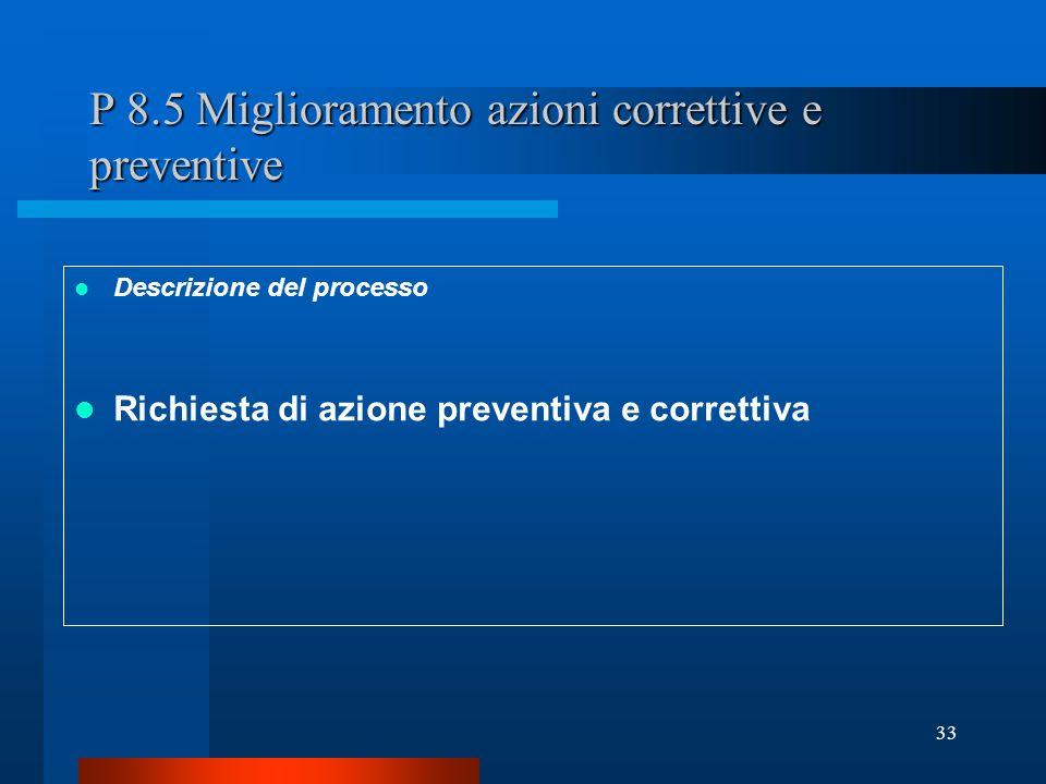 P 8.5 Miglioramento azioni correttive e preventive