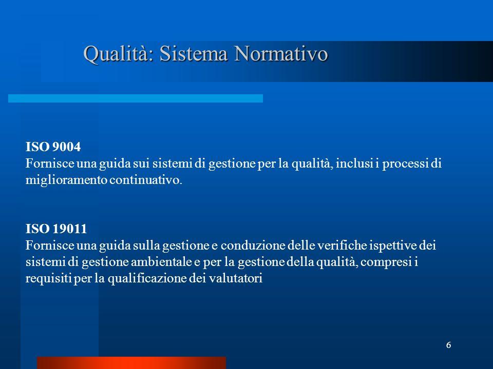 Qualità: Sistema Normativo