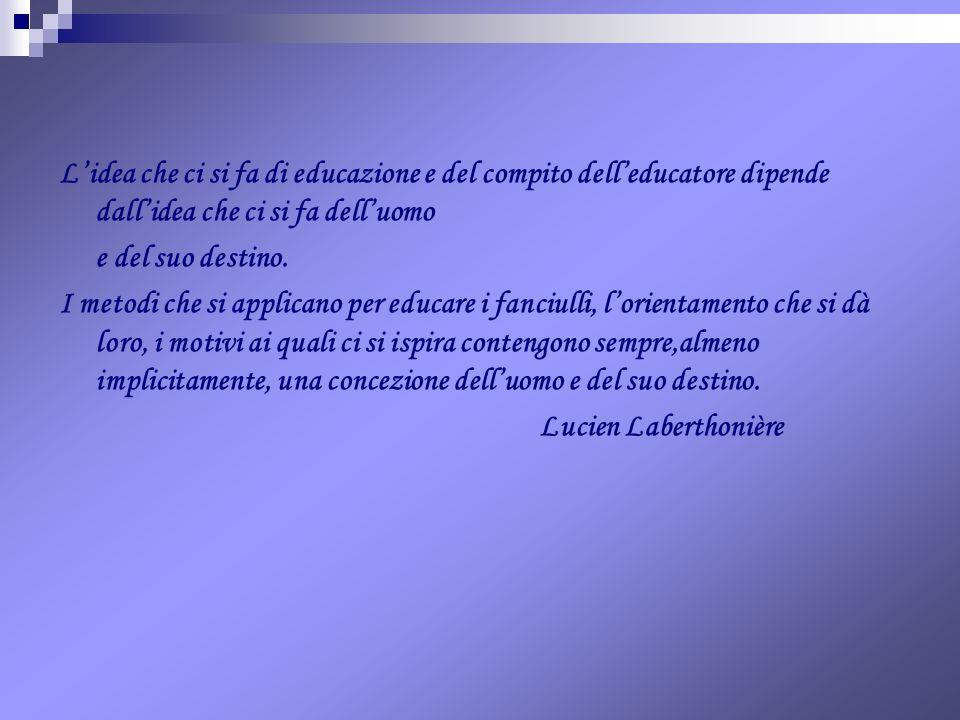 L'idea che ci si fa di educazione e del compito dell'educatore dipende dall'idea che ci si fa dell'uomo
