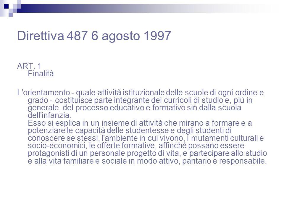 Direttiva 487 6 agosto 1997 ART. 1 Finalità
