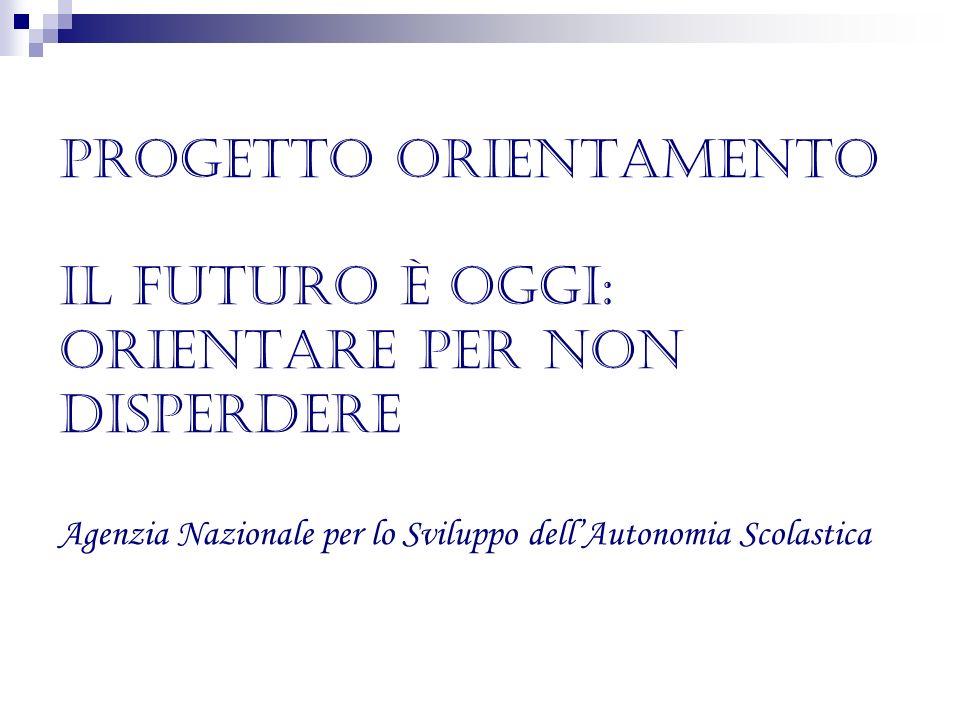 Progetto Orientamento Il futuro è oggi: Orientare per non disperdere Agenzia Nazionale per lo Sviluppo dell'Autonomia Scolastica