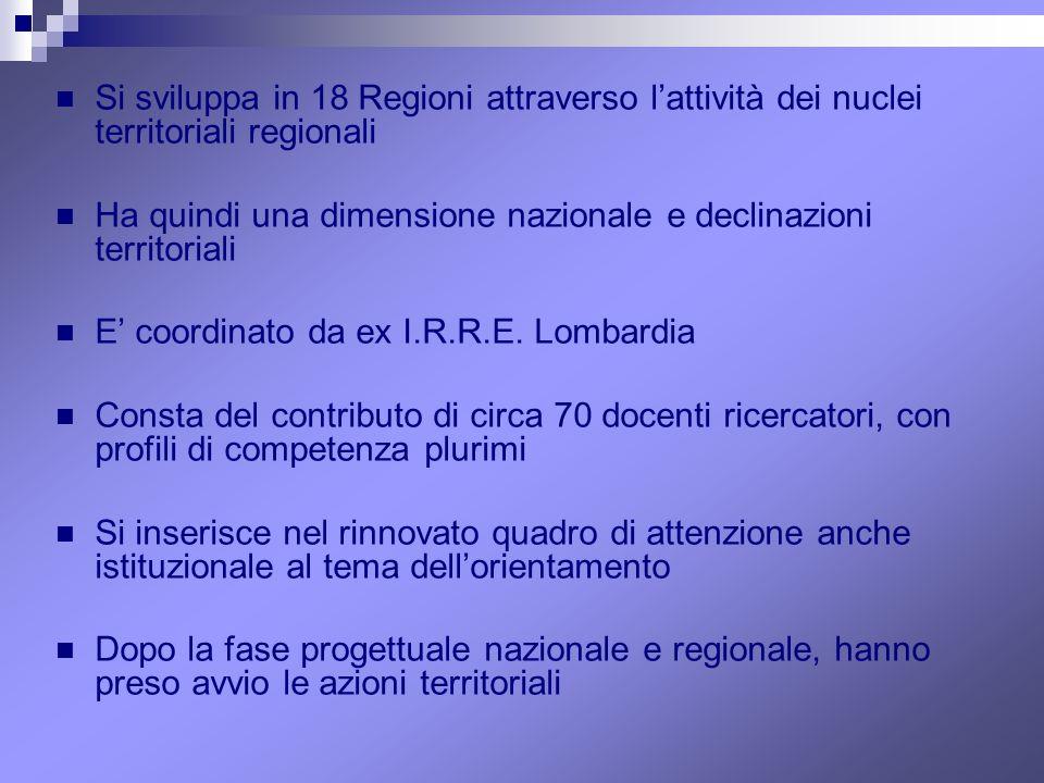 Si sviluppa in 18 Regioni attraverso l'attività dei nuclei territoriali regionali