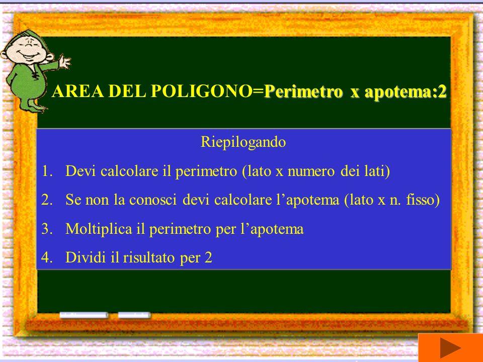AREA DEL POLIGONO=Perimetro x apotema:2