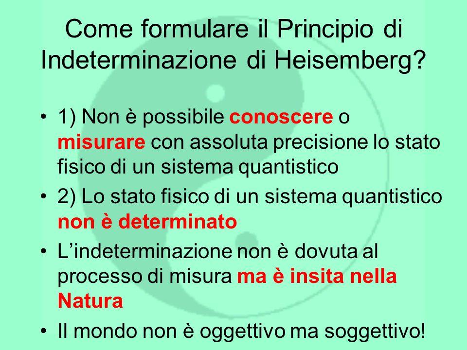 Come formulare il Principio di Indeterminazione di Heisemberg