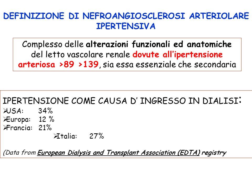 DEFINIZIONE DI NEFROANGIOSCLEROSI ARTERIOLARE IPERTENSIVA