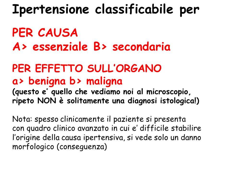 Ipertensione classificabile per