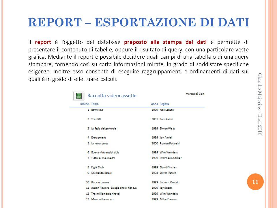 REPORT – ESPORTAZIONE DI DATI