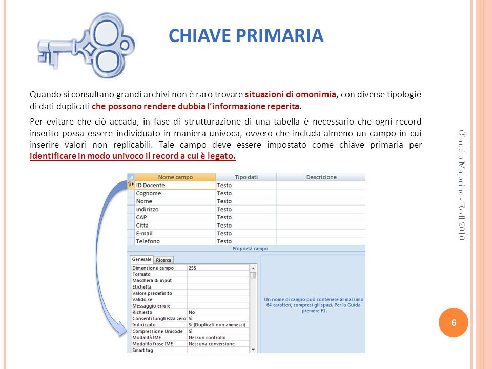 CHIAVE PRIMARIA