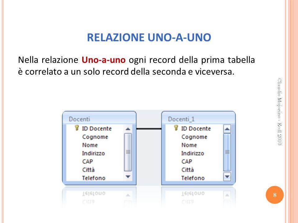RELAZIONE UNO-A-UNO Nella relazione Uno-a-uno ogni record della prima tabella è correlato a un solo record della seconda e viceversa.
