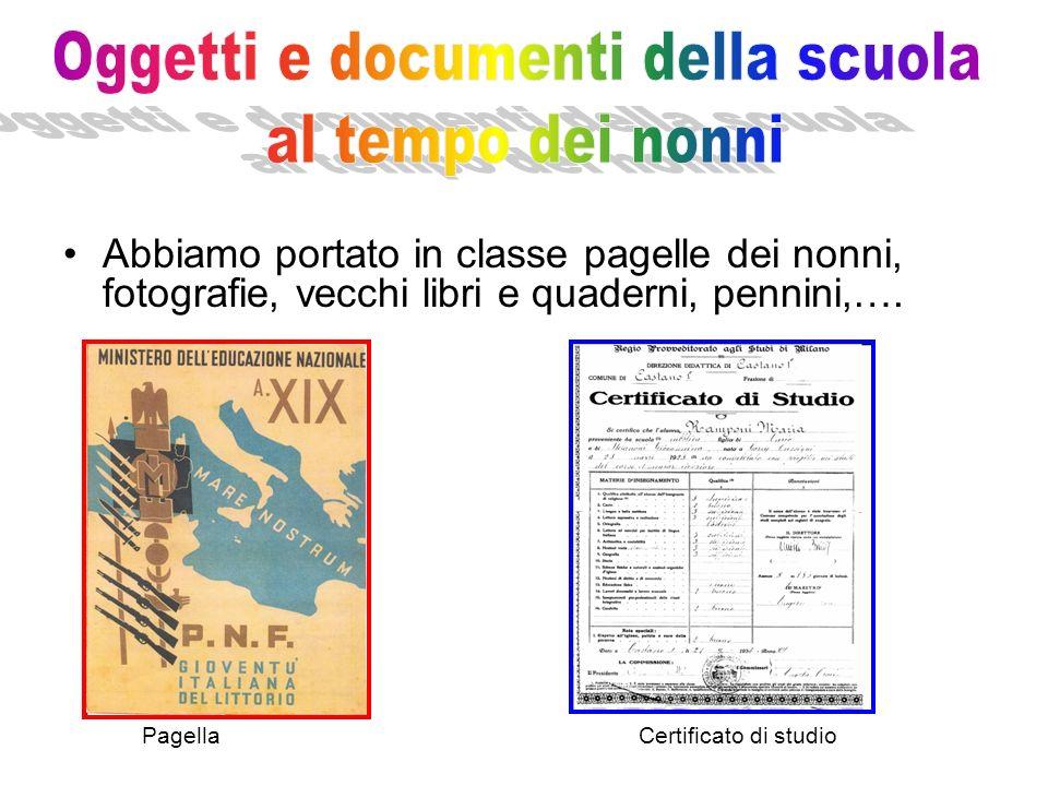 Oggetti e documenti della scuola