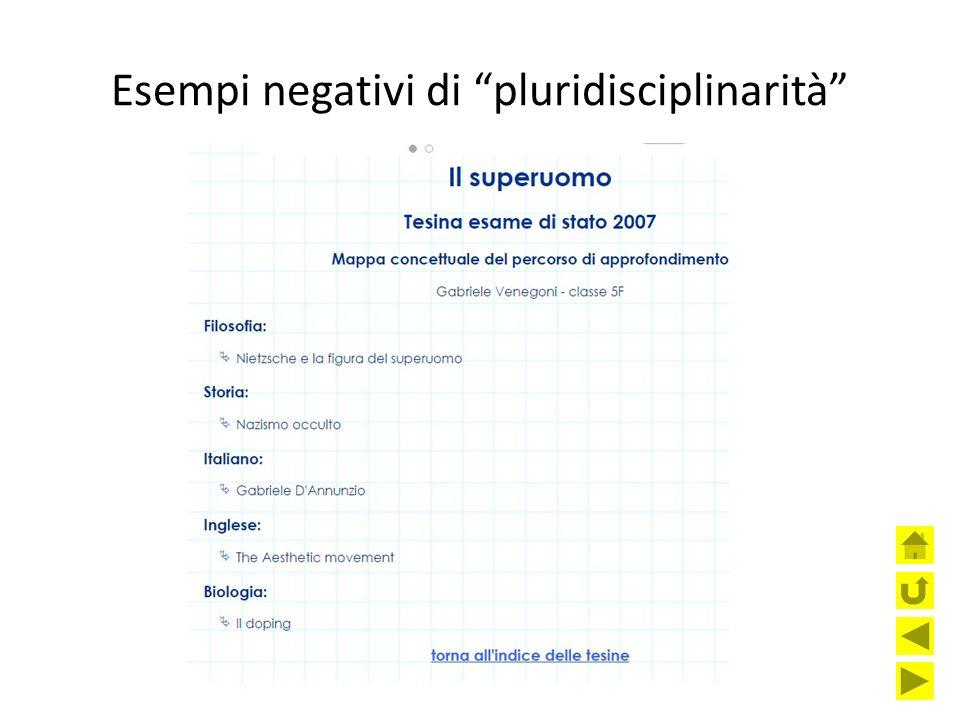 Esempi negativi di pluridisciplinarità
