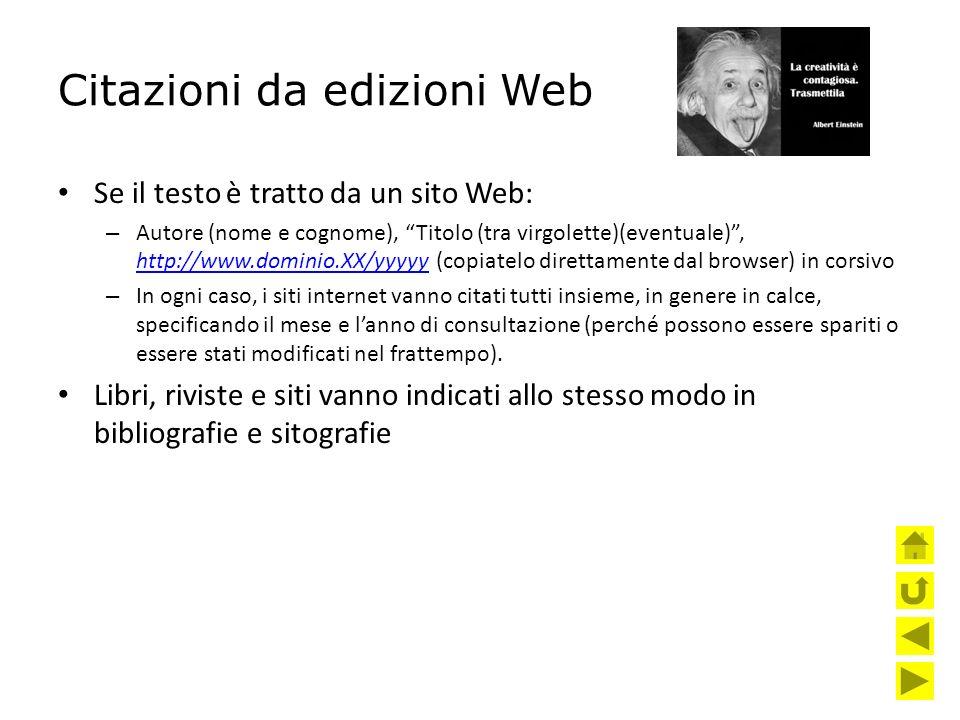 Citazioni da edizioni Web