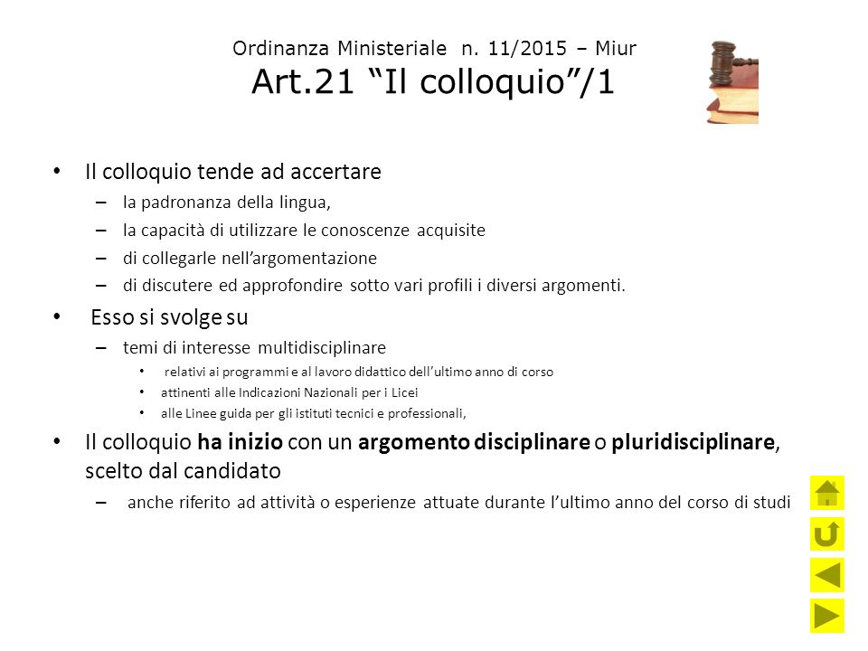 Ordinanza Ministeriale n. 11/2015 – Miur Art.21 Il colloquio /1