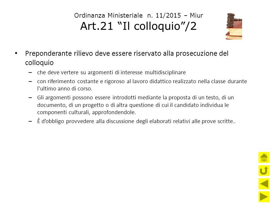 Ordinanza Ministeriale n. 11/2015 – Miur Art.21 Il colloquio /2