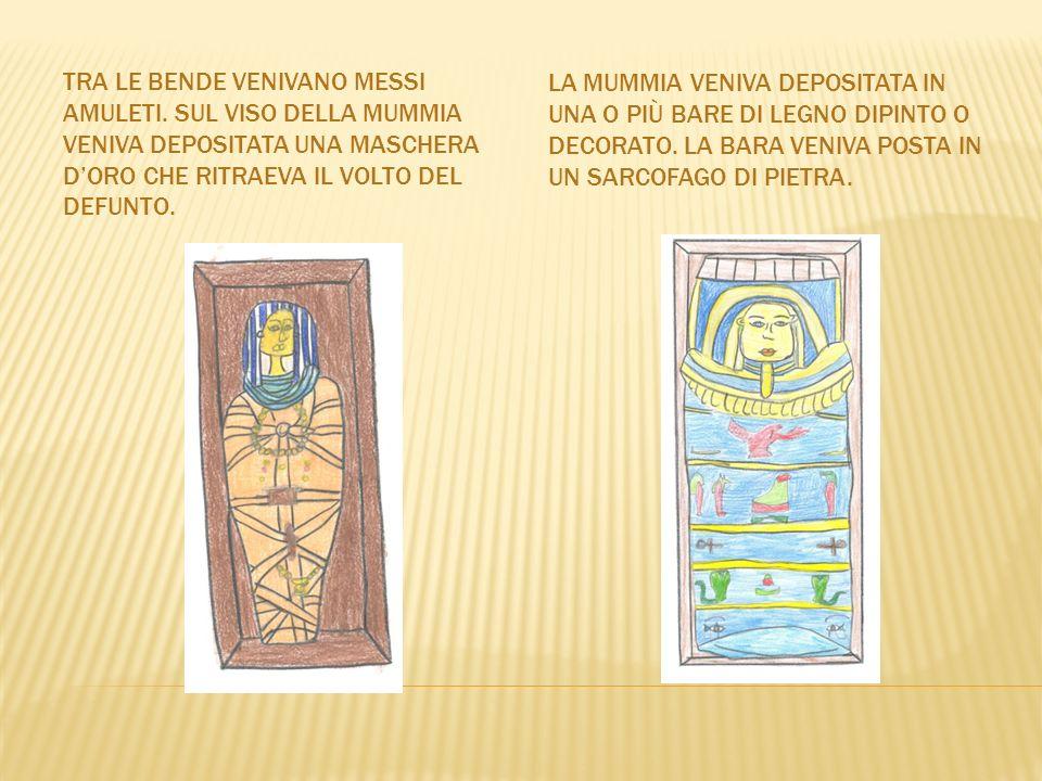 La mummia veniva depositata in una o più bare di legno dipinto o decorato. La bara veniva posta in un sarcofago di pietra.