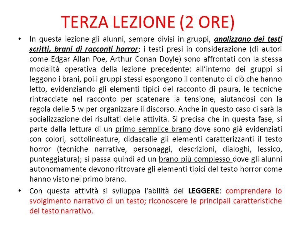 TERZA LEZIONE (2 ORE)