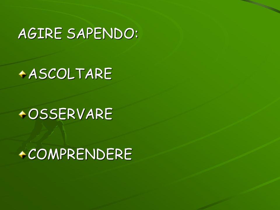 AGIRE SAPENDO: ASCOLTARE OSSERVARE COMPRENDERE