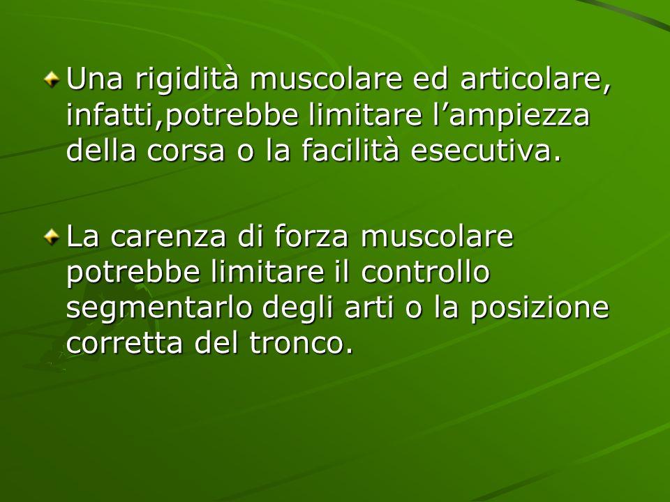 Una rigidità muscolare ed articolare, infatti,potrebbe limitare l'ampiezza della corsa o la facilità esecutiva.
