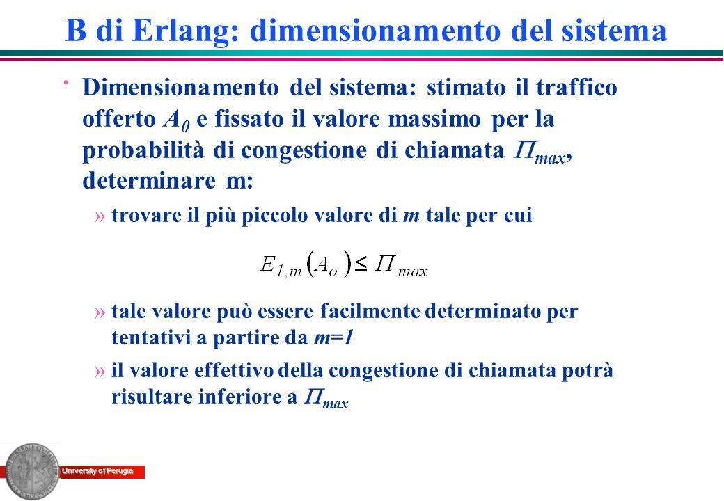 B di Erlang: dimensionamento del sistema