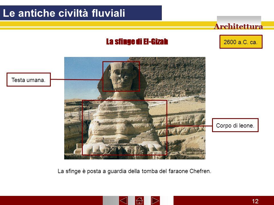 La sfinge è posta a guardia della tomba del faraone Chefren.