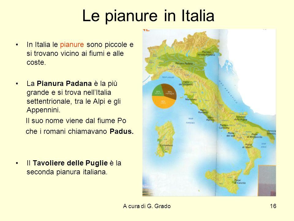 Le pianure in Italia In Italia le pianure sono piccole e si trovano vicino ai fiumi e alle coste.