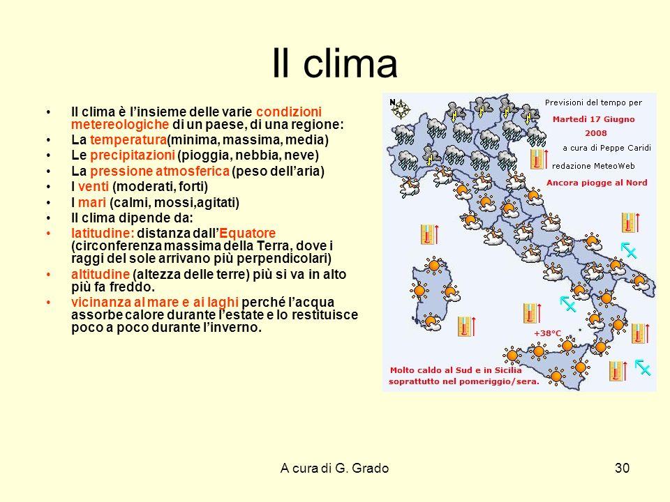 Il clima Il clima è l'insieme delle varie condizioni metereologiche di un paese, di una regione: La temperatura(minima, massima, media)