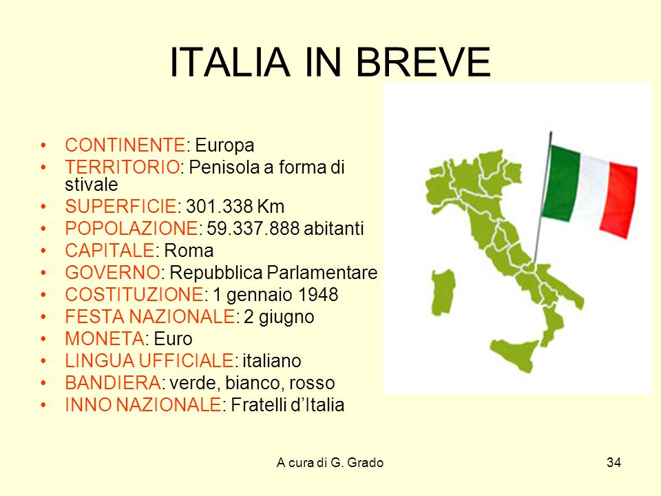 ITALIA IN BREVE CONTINENTE: Europa
