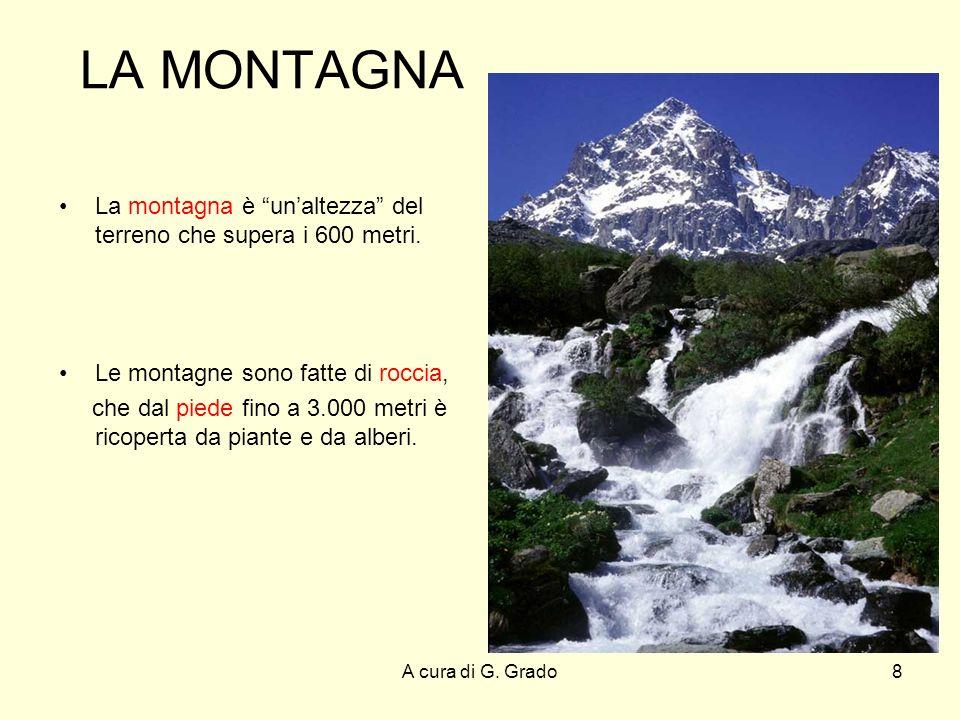 LA MONTAGNA La montagna è un'altezza del terreno che supera i 600 metri. Le montagne sono fatte di roccia,