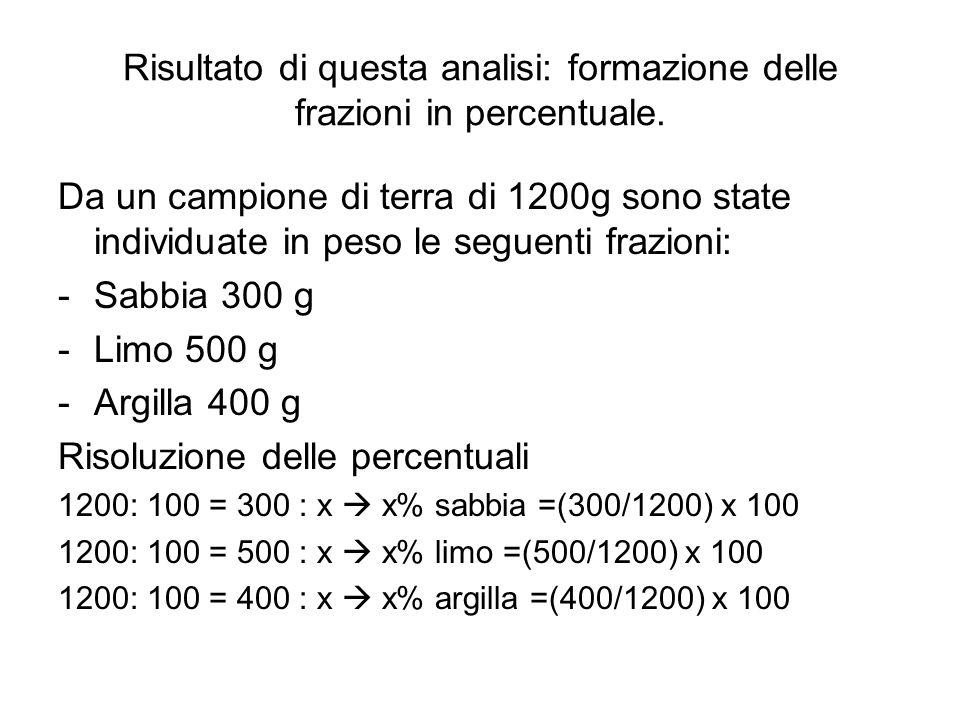 Risultato di questa analisi: formazione delle frazioni in percentuale.