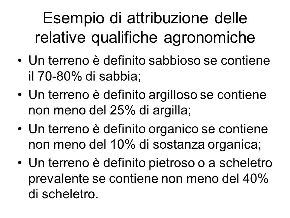 Esempio di attribuzione delle relative qualifiche agronomiche