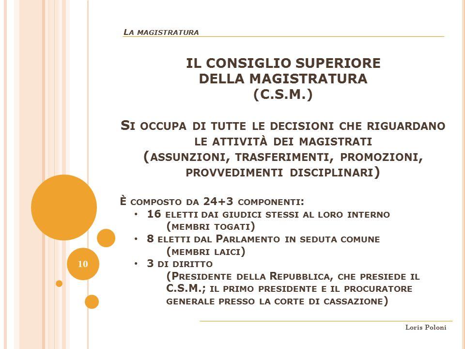 IL CONSIGLIO SUPERIORE DELLA MAGISTRATURA (C.S.M.)
