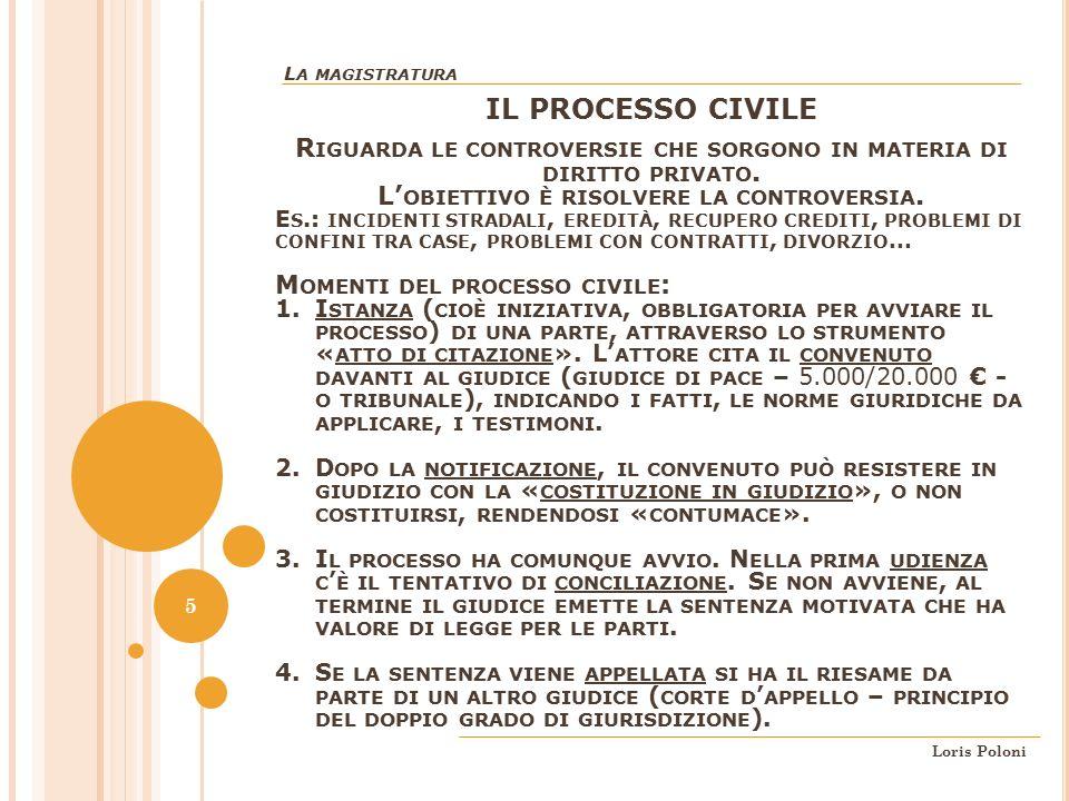La magistratura IL PROCESSO CIVILE. Riguarda le controversie che sorgono in materia di diritto privato.