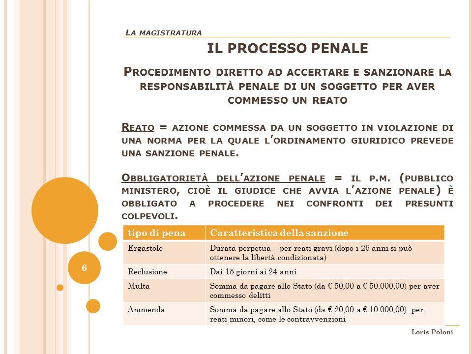La magistratura IL PROCESSO PENALE.