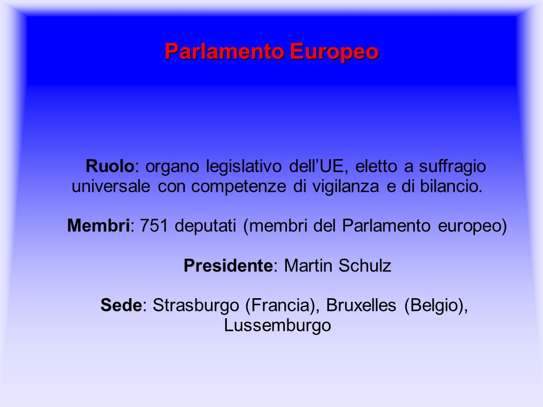 L 39 unione europea ppt video online scaricare for Membri del parlamento