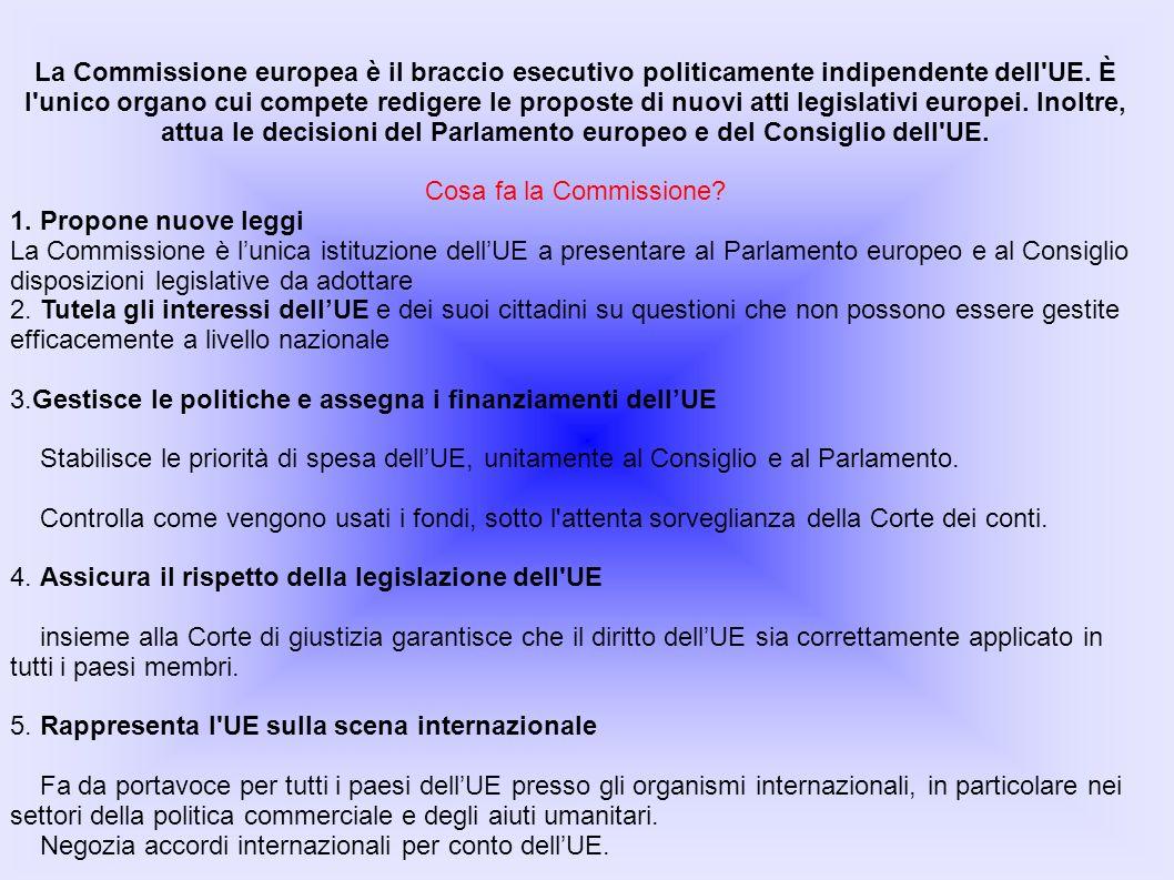 La Commissione europea è il braccio esecutivo politicamente indipendente dell UE. È l unico organo cui compete redigere le proposte di nuovi atti legislativi europei. Inoltre, attua le decisioni del Parlamento europeo e del Consiglio dell UE.