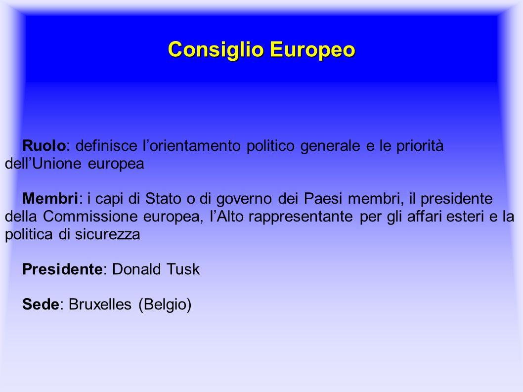 Consiglio Europeo Ruolo: definisce l'orientamento politico generale e le priorità dell'Unione europea.