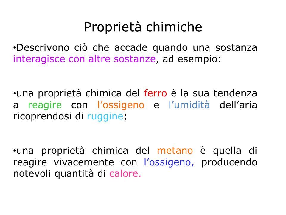 Proprietà chimiche Descrivono ciò che accade quando una sostanza interagisce con altre sostanze, ad esempio: