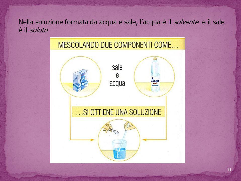 Nella soluzione formata da acqua e sale, l'acqua è il solvente e il sale è il soluto