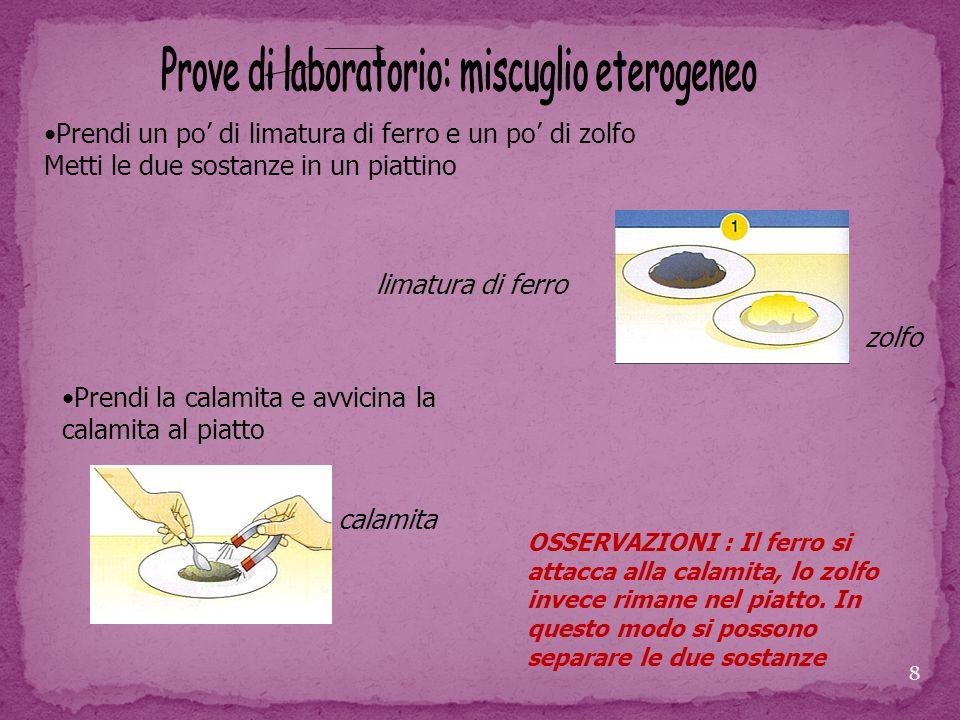 Prove di laboratorio: miscuglio eterogeneo
