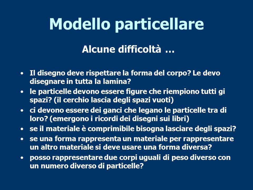 Modello particellare Alcune difficoltà …