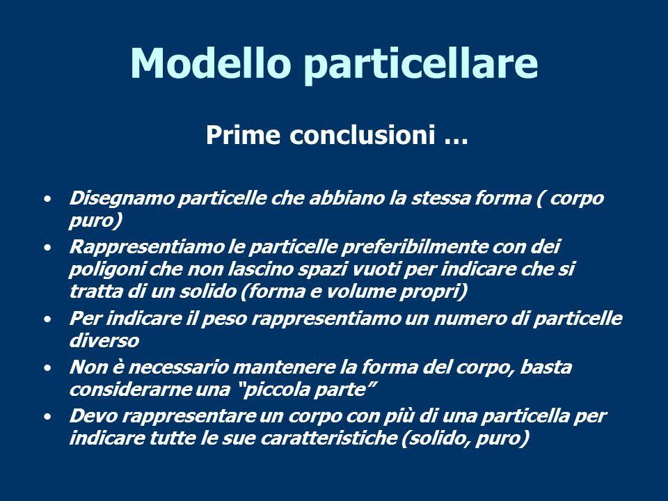 Modello particellare Prime conclusioni …