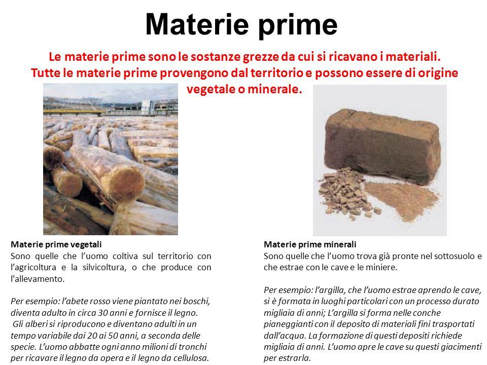 Materie prime Le materie prime sono le sostanze grezze da cui si ricavano i materiali.