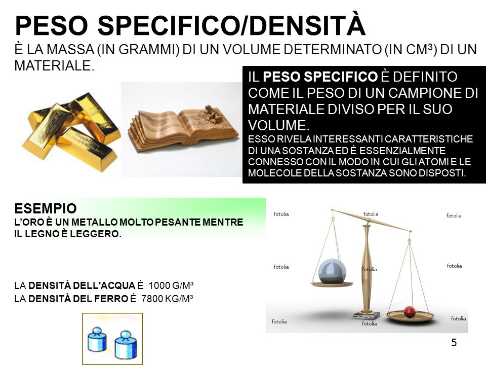 PESO SPECIFICO/DENSITÀ