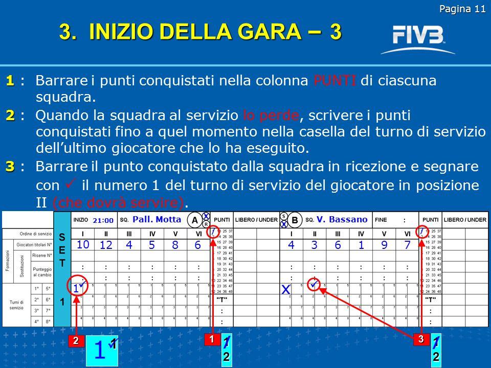 Pagina 11 3. INIZIO DELLA GARA – 3. 1 : Barrare i punti conquistati nella colonna PUNTI di ciascuna squadra.