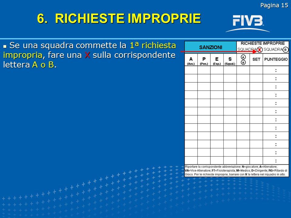 Pagina 15 6. RICHIESTE IMPROPRIE. Se una squadra commette la 1ª richiesta impropria, fare una X sulla corrispondente lettera A o B.