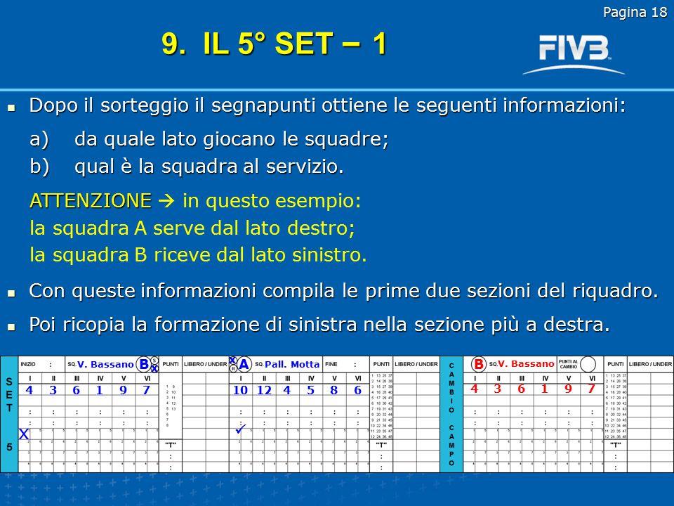 Pagina 18 9. IL 5° SET – 1. Dopo il sorteggio il segnapunti ottiene le seguenti informazioni: da quale lato giocano le squadre;