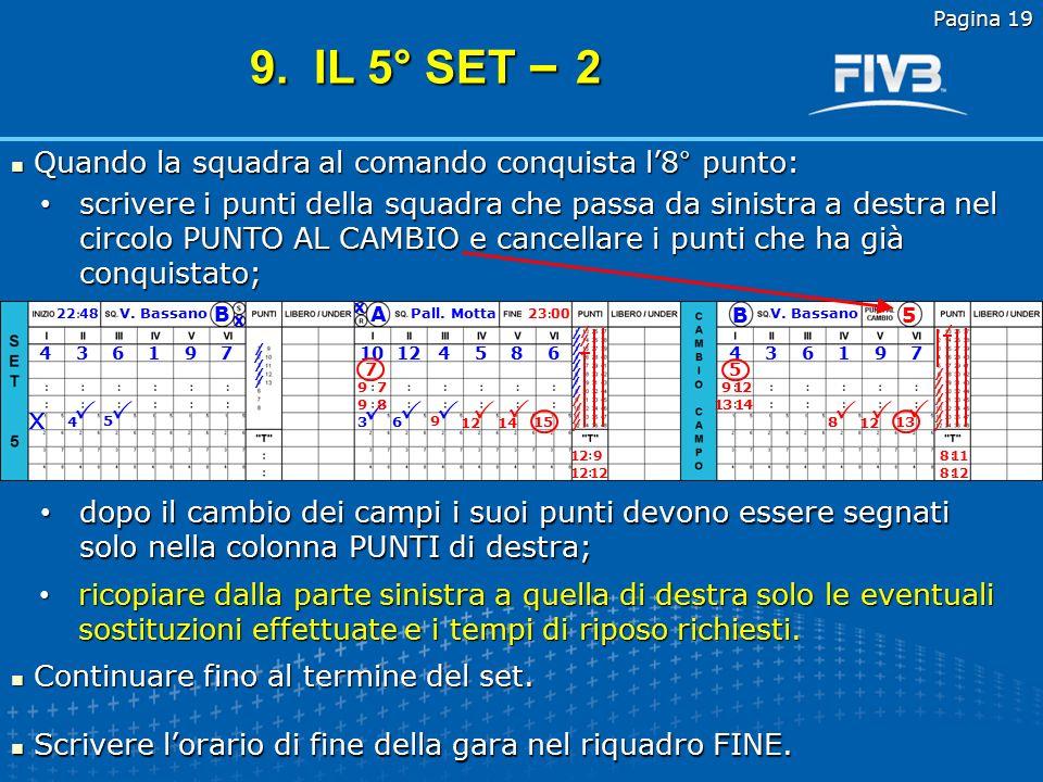 9. IL 5° SET – 2 Quando la squadra al comando conquista l'8° punto:
